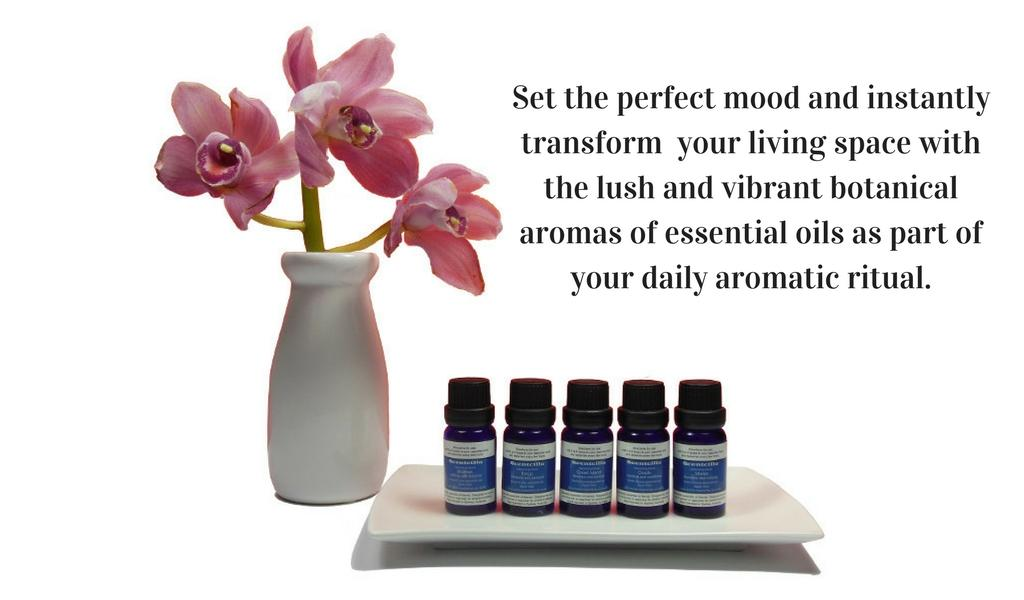 Set the perfect mood and instantly transform  your living space with the lush and vibrant botanical aromas of essential oils as part of your daily aromatic ritual.