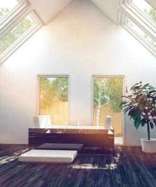 Modern bathroom design, where the bathtub is often a focal point, is influenced by the concept of bathroom as destination or as a home spa, which supports ...