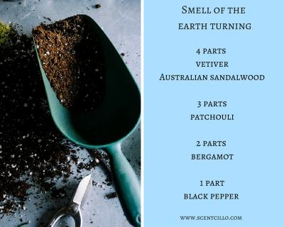 Smell of the earth turning essential oil blend