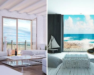 Home interiors close to the ocean