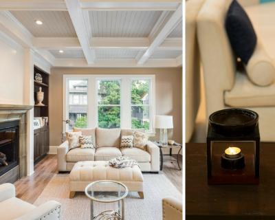 essential oil burner and modern living room