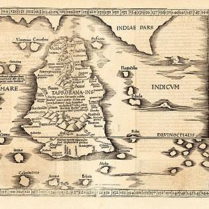 Ptolemy map of Sri Lanka and the Indian Ocean: Tabula XII Asiae 1535, 	 Michel Servet after Claudius Ptolemaeus via Wikimedia commons.