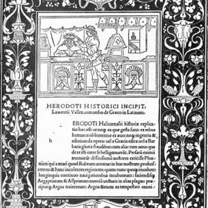 Dedication page for the Historiae by Herodotus, Joannes and Gregorius de Gregoriis de Forlivio, printers, Venice, 1494 via Wikimedia commons.